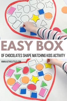 Easy Box of Chocolates Shape Matching Kids Activity - Active Littles Chocolate Shapes, Chocolate Box, Valentines Day Crafts For Preschoolers, Preschool Crafts, Name Activities, Preschool Activities, Shape Matching, Lower Case Letters, Chocolates