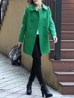 Green Casual H-line Coat