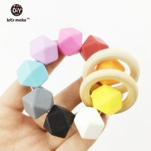 natural wooden bangles organic safe Mint infnat Waldorf sensory toys colorful silicone hex beads baby teether bracelet/rattle(China (Mainland))