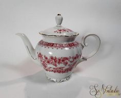 Seltmann Weiden Teapot Theresia red pattern, Vintage Bavarian china lidded tea pot, Gold rims, German porcelain, crockery replacements