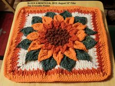 Crocodile Flower Square: free pattern