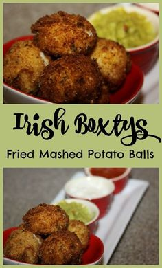 Irish Boxtys are garlic mashed potatoes rolled in seasoned bread crumbs then flash fried and served warm with dipping sauces. A copycat recipe from Mcguire's Irish Pub. Bangers And Mash, Fried Mashed Potatoes, Fried Mashed Potato Patties, Scottish Recipes, French Recipes, English Recipes, Irish Food Recipes, Lemon Recipes, Scottish Dishes