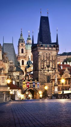 The Charles Bridge in Prague, Czech Republic, at twilight. Find out what you can do in the city. Places Around The World, The Places Youll Go, Travel Around The World, Places To See, Around The Worlds, Budapest, Wonderful Places, Beautiful Places, Romantic Travel