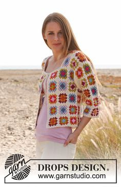 "Crochet DROPS jacket with ¾ sleeves and granny squares in ""Alpaca"". Size: S - XXXL ~ DROPS Design"