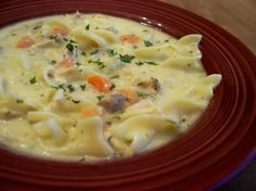 Creamy Turkey Soup from Food.com: This goes together in a flash-and is really flexible for using ingredients on hand. You can either make this with noodles or dumplings, or leave them out. We like our soup salty, so adjust that to your taste.