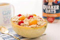 Overnight oats in a cantaloupe is a great healthy breakfast. You basically let it sit and it you're ready to eat it the next morning. Plus, no dishes needed after you're done! Good Food, Yummy Food, Delicious Meals, Overnight Oatmeal, Cooking Recipes, Healthy Recipes, Mexican Dishes, Recipe Of The Day, Diy Food