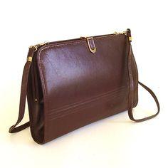 vintage Chocolate Brown Leather Purse by SkinnyandBernie on Etsy, $34.00
