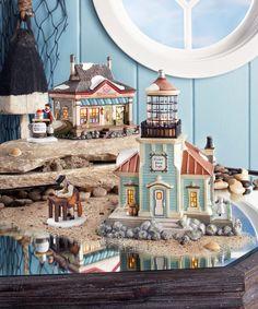 Department 56 - New England Village idea Coastal Entryway, Coastal Cottage, Coastal Homes, Coastal Decor, Coastal Rugs, Coastal Farmhouse, Christmas Village Houses, Christmas Village Display, Halloween Village