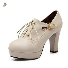 Ladies Metal Chain Platform Chunky Heels Round Toe White Imitated Leather Boots - 4 B(M) US