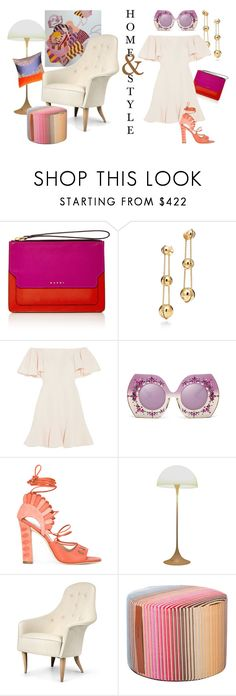 """Home & Style: Ruffles & Sorbet"" by lovekhrys ❤ liked on Polyvore featuring Marni, Tiffany & Co., Valentino, Paula Cademartori, Verner Panton, Gubi and Missoni Home"