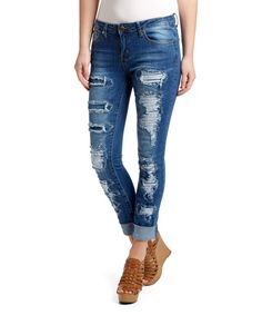 Look at this VIP Jeans Blue Patch Distressed Skinny Jeans on #zulily today!