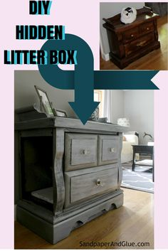 concealed litter box furniture. DIY Hidden Litter Box From SandpaperAndGlue.com Concealed Furniture