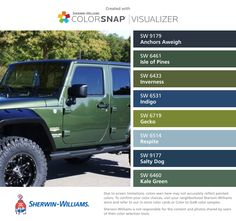 LOVE JEEP GREEN 👏🏻Sherwin-Williams: Anchors Aweigh (SW 9179), Isle of Pines (SW 6461), Inverness (SW 6433), Indigo (SW 6531), Gecko (SW 6719), Respite (SW 6514), Salty Dog (SW 9177), Kale Green (SW 6460). Crazy Colour, Color Of Life, Paint Color App, Color Combos, Color Schemes, Blue Crib, Matching Paint Colors, Sherwin William Paint, Inverness