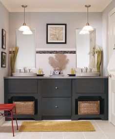 A gorgeous vanity can take your bathroom from ho-hum to dream status. Kemper's Northrope style cabinets in a dark and moody gray Storm finish add the perfect touch of visual interest to this eclectic bathroom. #KemperBathrooms