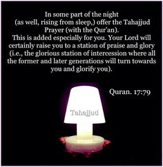 Let's perform shalat Tahajjud. First pray it once, then twice, then three times a week until it becomes a habit..