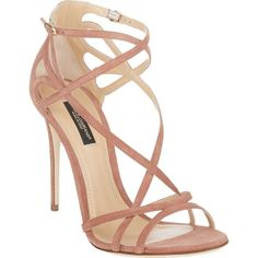"Dolce & Gabbana light pink suede Keira sandals styled at vamp and ankle with cutout crisscross straps. 4"" (100mm) heel, approximately . Slim toe band, crisscro…"