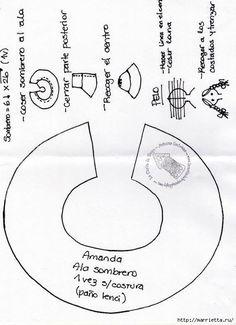 Linda Muñeca de trapo pupa con sombrero. Patrón de cuerpo y ropa incluido.