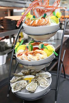 Monster seafood tower at new Center Cut Steakhouse at Flamingo.