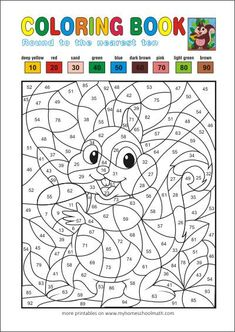 Color by numbers - free printable coloring books for kids Math Coloring Worksheets, Free Printable Math Worksheets, Number Worksheets, Free Printable Coloring Pages, Free Coloring Pages, Coloring Books, Color By Number Printable, Printable Numbers, Math Round
