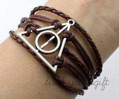 Deathly hallows bracelet, harry potter bracelet,bronze, wax cords and Imitation leather braid bracelet,gift-Q026 by luckystargift on Etsy, $3.29