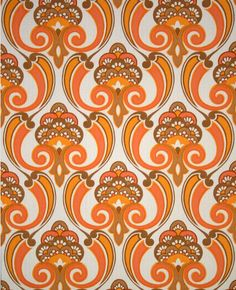 Orangeadelic Mid Century Modern Floral Wallpaper Vintage