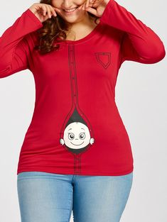 301735ae2d7 Cartoon Baby Printed Plus Size Long Sleeve T-shirt