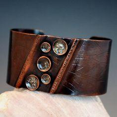 Rustic Copper Cuff Bracelet by Gail Williams Jewelry Copper Cuff, Copper Bracelet, Metal Bracelets, Cuff Bracelets, Bangles, Funky Jewelry, Copper Jewelry, Jewelry Design, Jewelry Ideas
