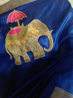Royal blue semi silk saree with elephant embroidery and unstitched pink pure silk blouse with elephant weave in 2019 Embroidery Motifs, Embroidery Fashion, Embroidery Dress, Beaded Embroidery, Embroidered Blouse, Blouse Designs Silk, Bridal Blouse Designs, Embroidery Suits Design, Hand Embroidery Designs