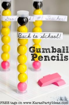 Back to School GUMBALL PENCIL Gifts for student or teachers with FREE PRINTABLE TAGS via Kara's Party Ideas KarasPartyIdeas.com #backtoschool #gifts #teachergifts #party #supplies #ideas #birthday