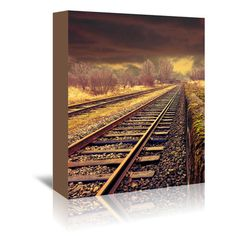 """East Urban Home Railway Travel Nature Photographic Print on Wrapped Canvas Size: 10"""" H x 8"""" W x 1.5"""" D"""