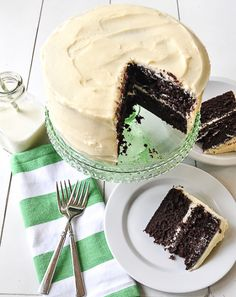 This cake is so chocolaty and moist and the cream cheese frosting adds a perfect balance to the cake making it not too sweet! Cake has brewed coffee in it!