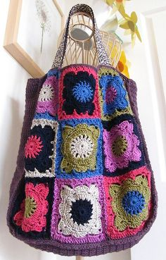 MY 'GRANNY SQUARE' BAG COMPLETED - AT LAST!!! - LINED WITH LIBERTY LAWN COTTON |