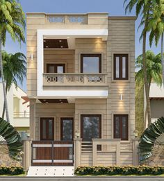 Discover recipes, home ideas, style inspiration and other ideas to try. Duplex House Design, House Front Design, Small House Design, Modern House Design, Modern House Facades, Small House Exteriors, Brick House Designs, Cool House Designs, House Elevation