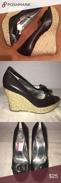 JESSICA SIMPSON - Peep toe espadrilles wedges. Worn only a few times. Very cute and comfortable Jessica Simpson wedges. No blemishes. Color is dark chocolate. Jessica Simpson Shoes Wedges