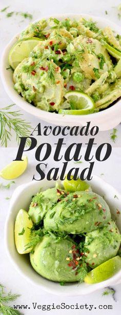 Healthy, Vegan Avocado Potato Salad Recipe with Dill and Citrus Avocado Dressing. Avocado Dressing, Dill Dressing, Vegetarian Recipes, Cooking Recipes, Healthy Recipes, Vegan Avocado Recipes, Avocado Ideas, Healthy Nutrition, Healthy Eating