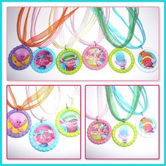 Trolls Set Of 6 Colored Bottle Cap  With Bright Ribbon Pendants Party Favors #Unbranded #BirthdayChild