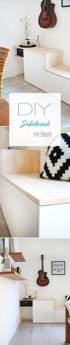 Dani vom DIY Blog Gingered Things zeigt euch wie ihr aus den Bestå Schränken von Ikea dieses tolle Sideboard mit viel Stauraum im skandinavischen Stil für das Wohnzimmer selbst bauen kannst.