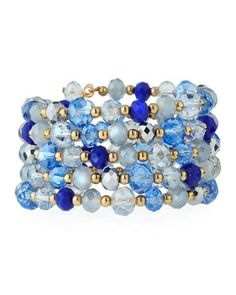 Multi-Row Simulated Crystal Wrap Bracelet, Blue