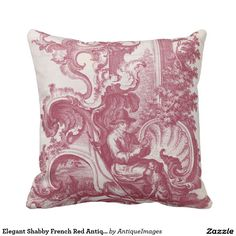 Elegant Shabby French Red Antique Engraving Toile