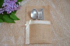 10 x Hessian Fabric Cutlery Holder Burlap Wedding by SeaSunrays, £14.99