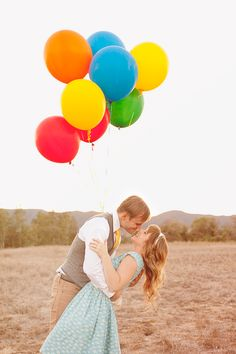 Super cute Engagement Session in a field with colorful balloons!  Le Belle Photographie - Wedding and Birth Photography Temecula, CA