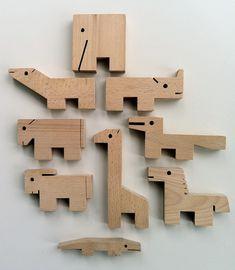 Stacking toy animal blocks.