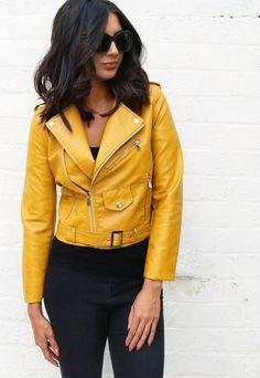 @isabellegeneva Leather Look Belted Biker Jacket with Zips in Mustard