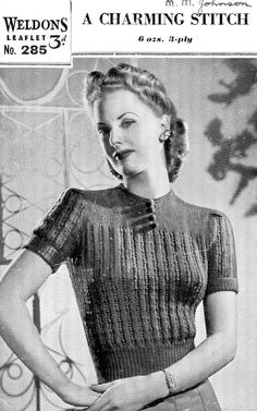 "Lace Rib Short Sleeve Jumper Ladies 34"" Bust 1940s Vintage Knitting Pattern Weldons 285 3-ply Light Fingering Pdf Download"