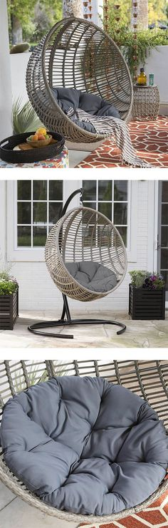 Hanging Egg Chair Loveseat For Luxury Outdoor Patios Such a great way to spend the afternoon. https://hammocktown.com/products/hanging-egg-chair-loveseat #EggChair