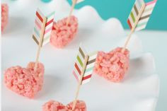 Valentine's Day Krispies by Lisa Storm - or use the DIY arrow toppers for mini cupcakes and draw on a heart