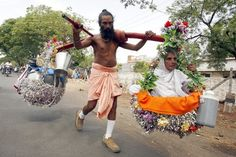 A pilgrim carriers his blind mother to every major hindu site in India.