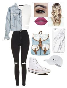 """Untitled #132"" by bianca-parcels ❤ liked on Polyvore featuring Converse, BCBGMAXAZRIA, Topshop, H&M, Lime Crime and NIKE"