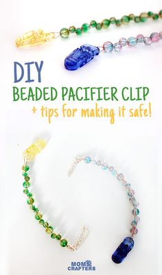 How to make a beaded pacifier holder - a new, fun tutorial! Make a DIY pacifier clip as a great easy baby shower gift, but first learn how to make it safely!