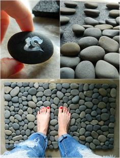 DIY stone bathroom mat.